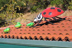 Lady Bug Chasing Aphids - A well-known backyard tableau is featured atop the roof of a Mill Valley nursery.  The overmatched aphids scurry for dear life, as the looming Ladybug seeks to curb the garden mischief. 3 foot diameter Ladybug;  1 foot L Aphids