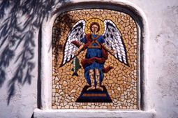 Raphael - This is a rendition of the archangel Raphael. There are two mirror image panels of Raphael installed on either side of the entrance to the Archangel Vineyard in St. Helena, California. 30