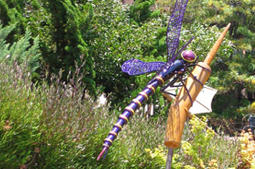 Giant Purple Dragonfly (redux) - The deep metallic purple dragonfly is the second rendition with a custom color scheme for a client in San Carlos, CA. 5'L x 7'W wingspan
