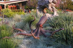 Octopus - A rusted all-steel octopus looking right at home floating in the tall grass.   Installed in May of 2012 at the LA Arboretum in Arcadia as part of an exhibition for Grow! A Garden Festival. 8ft. Diameter